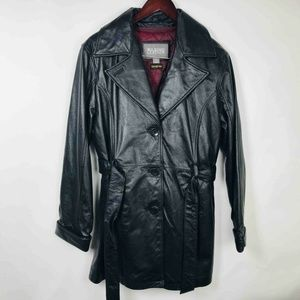 Wilsons Leather Womens Trench Coat Black Belted L